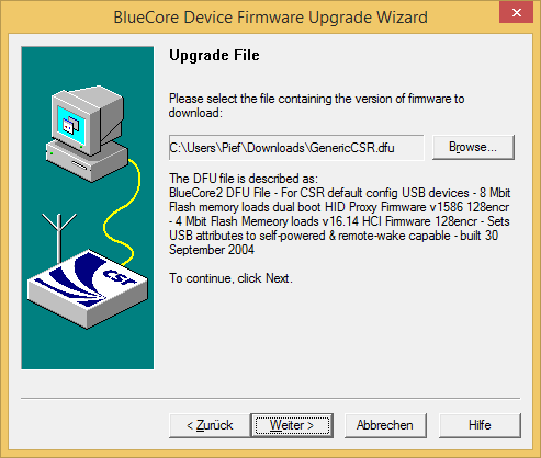 DFUWizard with the DFU file tp flash selected